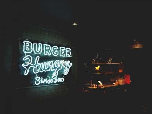 signage restaurant burger store night
