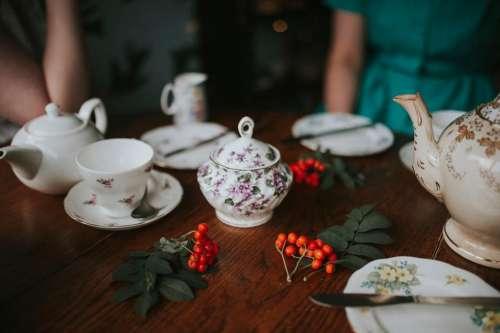 teapot cup saucer spoon tea