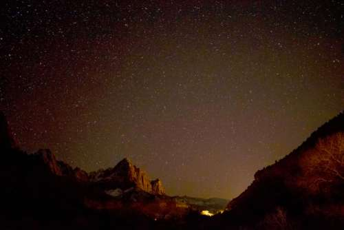 nature mountains cliffs night sky