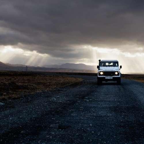 dark sky clouds path road