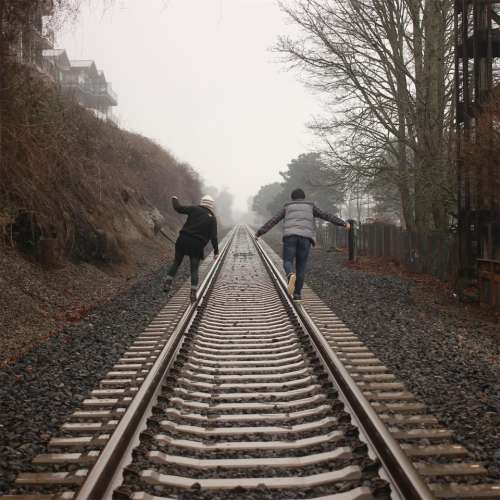 people train tracks railroad railway girl