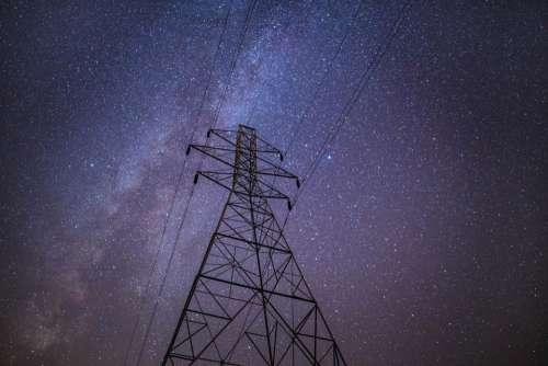 power lines night stars sky space