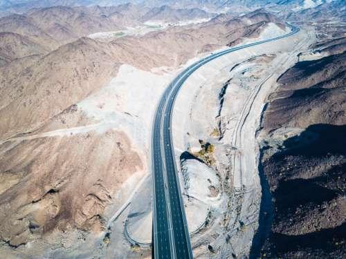 motorway desert mountain asphalt concret