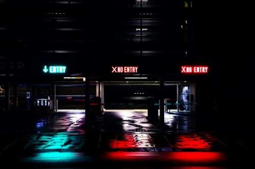 parking garage entry no entry dark night