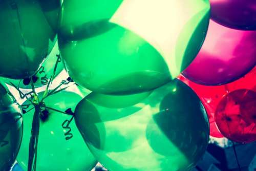 balloon colorful red pink green