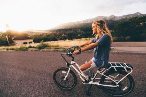 girl woman bike bicycle blonde