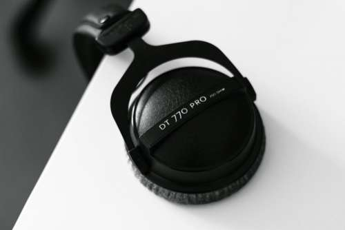 black and white headset headphones music
