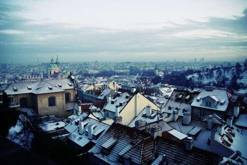 sky cold winter snow city