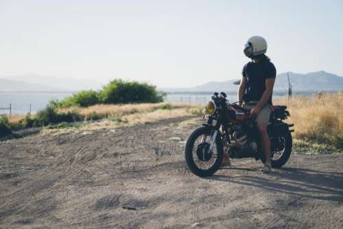 people man alone helmet motorcycle