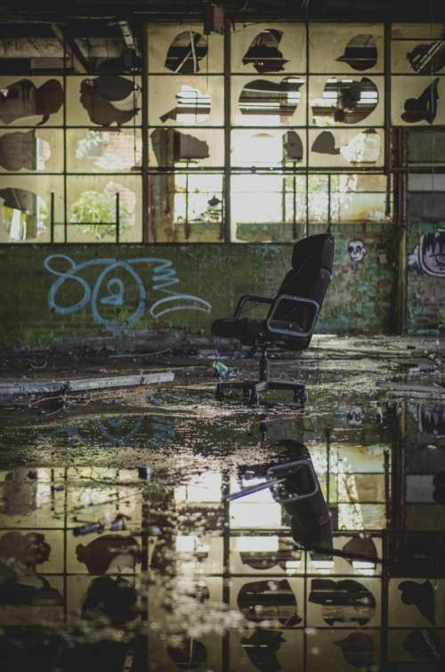chair reflection water flood abandoned