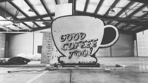 Coffee sign neon warehouse black & white