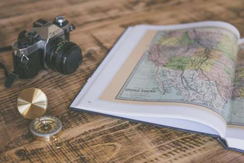 book map geography compass travel