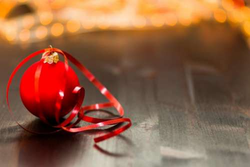 red christmas ball ribbon decoration ornament