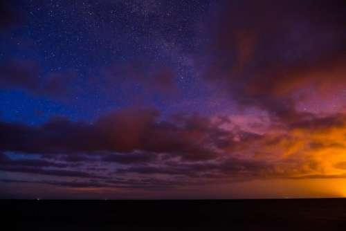 horizon dark sky clouds sunset