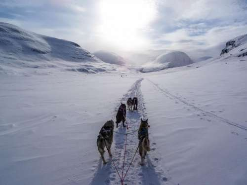 highland mountain path snow winter