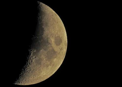 dark night half moon bright
