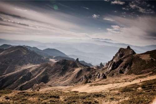landscape mountains hills valleys rocks
