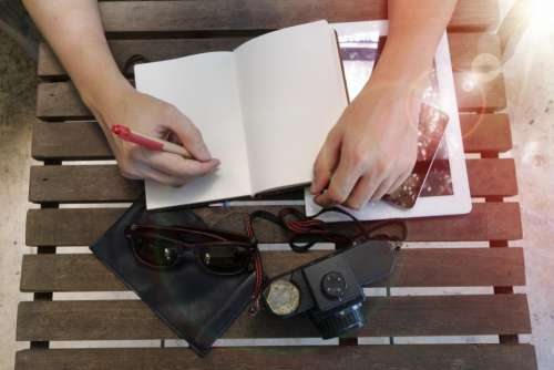 hand arm notebook pen write