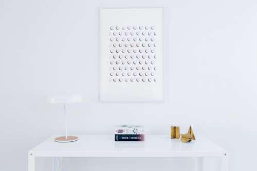 white table frames lamp aesthetic