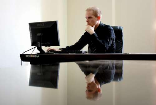 people man guy office desk