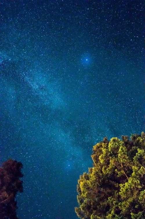 dark blue sky stars night