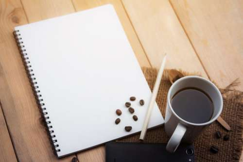 home desk coffee pencil beans