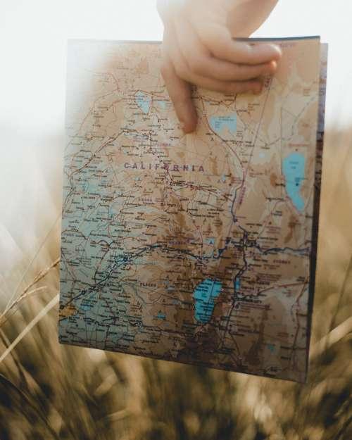 map california travel tourism hand