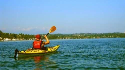 kayak lake water sunshine summer