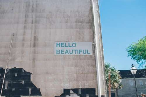 hello beautiful sign beauty wall