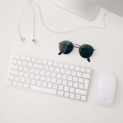 sunglasses mouse keyboard earphones computer