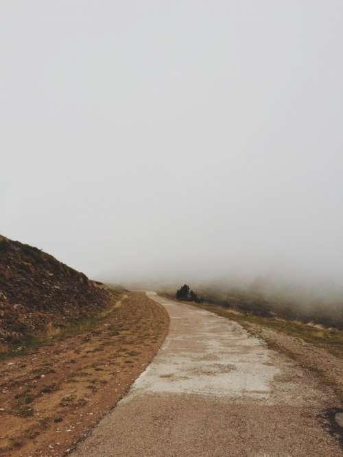 nature road pathway fog travel