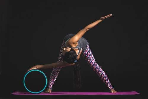 people woman pink yoga mat
