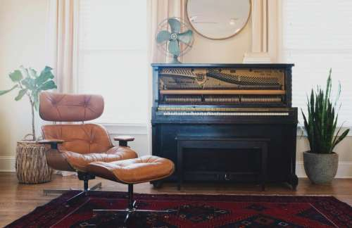 piano keyboard musical instrument sofa