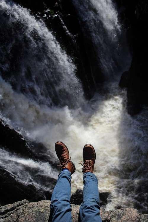 waterfalls rocks cliff nature outdoor