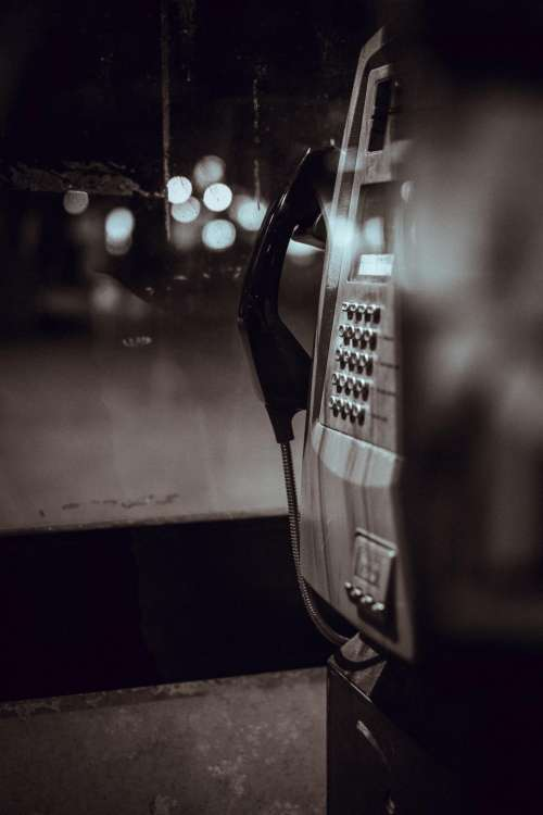 payphone communication call telephone black and white
