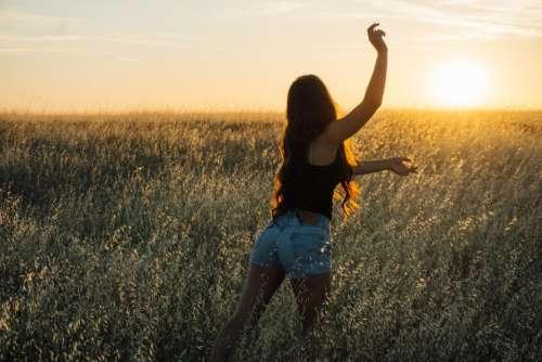 sunset girl woman long hair people