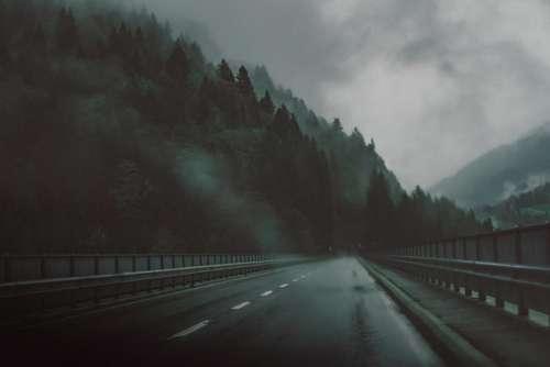 road highway bridge fog cold