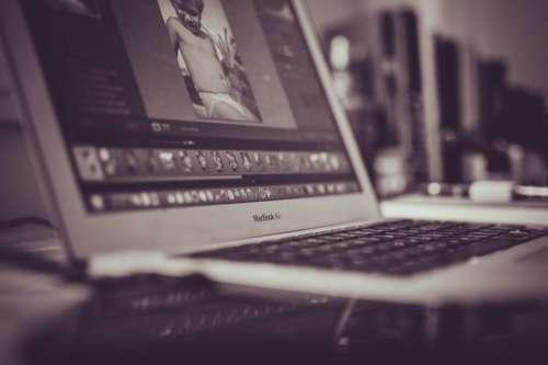 macbook laptop computer office desk