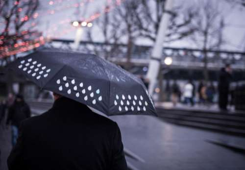 people walking street blur umbrella