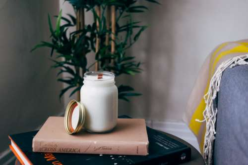 milk jar books reading cup