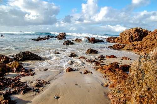 australia beach sky water rocks
