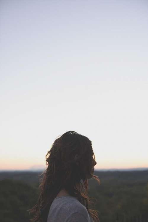 people girl alone silhouette horizon