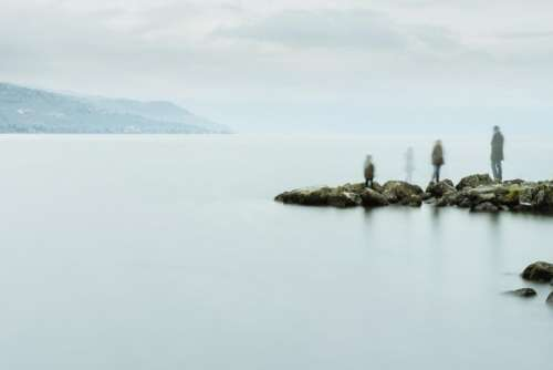 ocean sea water fog rocks