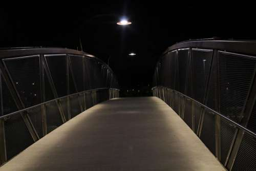 bridge pathway light dark night
