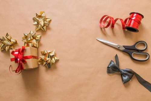 scissors gift red ribbon accessory