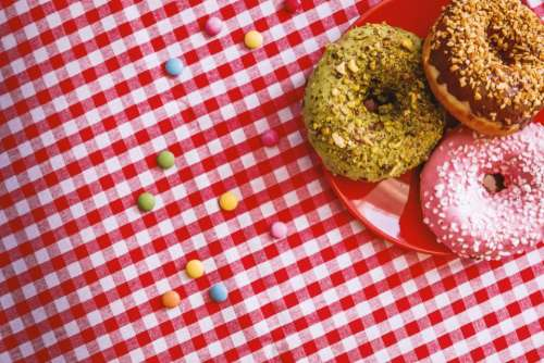 red table cloth doughnut sweets