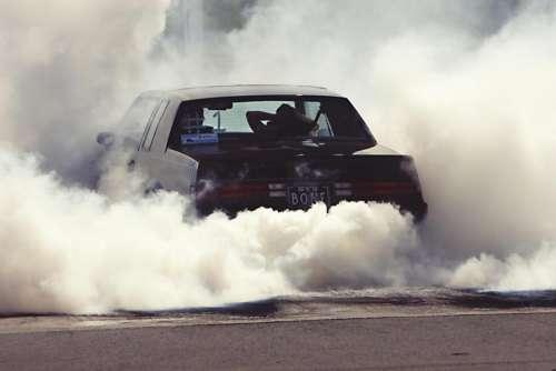 burnout car drag racing smoke
