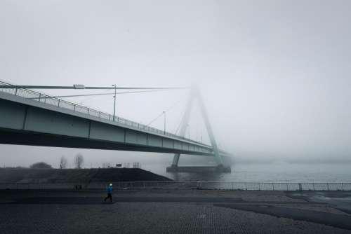 architecture bridge infrastructure fog cold
