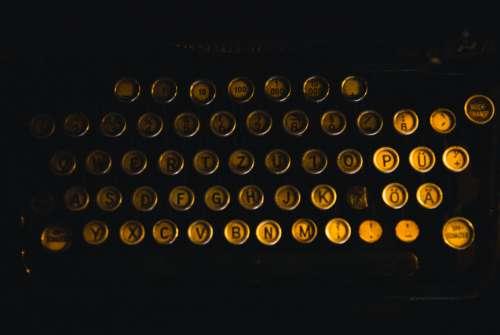 close-up vintage typewriter keys buttons