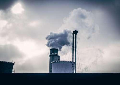 industrial factory smoke silos sky